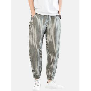 Newchic Mens Cotton Linen Stripe Casual Drawstring Elastic Ankle Harem Pants With Buckle