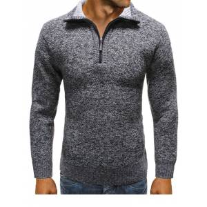 Newchic Solid Color Plaid Liner Zip Up Casual Knitted Sweater for Men