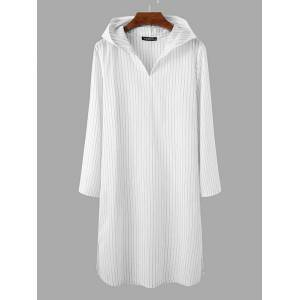 Newchic Mens Pinstripe Casual Long Tops Hooded Cotton Loungewear Robe