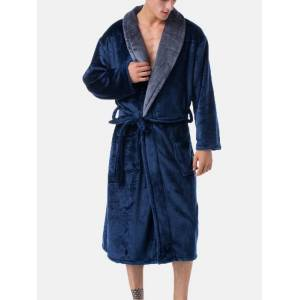 Newchic Pure Color Cozy Soft Flannel Thicken Warm Lapel Belted Loose Pajamas Robe