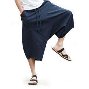 Newchic Mens 100% Cotton Casual Wide Leg Drawstring Elastic Waist Loose Crotch Pants