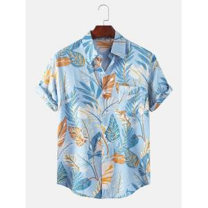 Newchic Mens Tropical Leaves Overall Printed Holiday Casual Short Sleeve Floral Shirt
