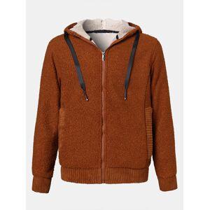 Newchic Mens Fleece Zip Front Push Lined Warm Slant Pocket Drawstring Hooded Jackets
