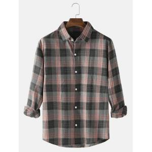 Newchic Mens Plaid Turn-Down Collar Loose Fit Casual Long Sleeve Shirts