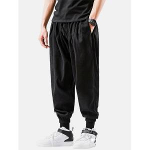 Newchic Mens Solid Color Relaxed Fit Drawstring Beam Feet Cropped Pants