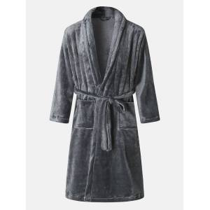 Newchic Mens Winter Wearable Flannel Thick Casual Homewear Nightgown Plain Color Robe