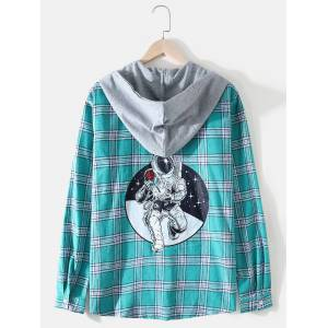 Newchic Mens Plaid Back Astronaut Print Long Sleeve Relaxed Hooded Shirts