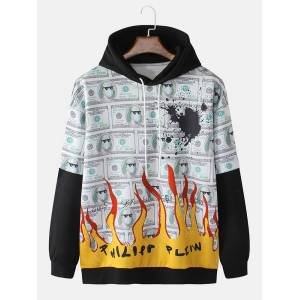 Newchic Mens USD Fire Print Faux Twinset Relaxed Fit Drawstring Hoodie