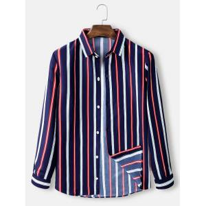 Newchic Mens Colorful Stripe Button Up Loose Fit Light Casual Long Sleeve Shirts