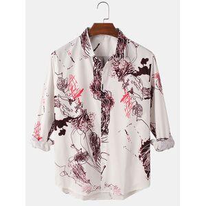Newchic Mens Graffiti Print Relaxed Fit Casual High Low Hem Long Sleeve Shirts