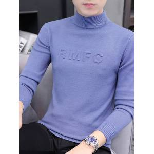 Newchic Men Half-collar Letter Knit Skinny Casual Sweater