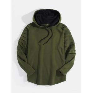 Newchic Mens Solid Pleated Drop Shoulder Curved Hem Drawstring Pullover Hoodie
