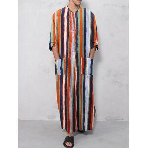 Newchic Ethnic Striped Cotton Soft Plus Size Long Sleeve Slit Hem Loungewear Robe With Waist Pockets