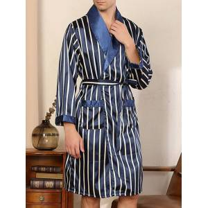 Newchic Men Classical Striped Patchwork Belted Loungewear Pajamas Robe