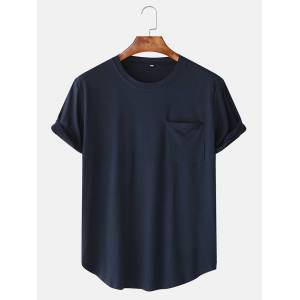 Newchic Men Cotton Plain Chest Pocket Home Casual Loose Short Sleeve T-Shirt