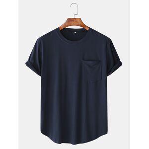 Newchic Men Cotton Plain Chest Pocket Home Casual Loose Short Sleeve T-Shirt