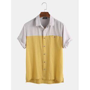 Newchic Mens 100% Cotton Color Block Breathable Newchic Unique Design Shirt