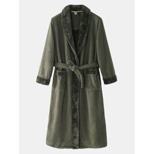 Newchic Men Flannel Thick Sleepwear Winter Warm Lapel Collar Knee-Length Belted Lounge Robe