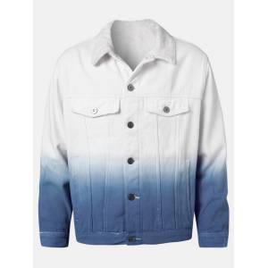 Newchic Mens Ombre Push Lined Warm Cotton Outdoor Stylish Denim Jackets With Pocket