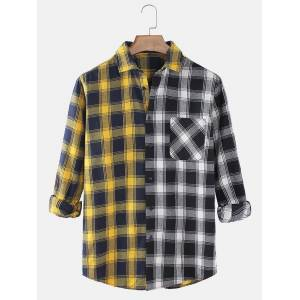 Newchic Mens Classical Plaid & Patchwork Print Casual Fit Long Sleeve Shirts