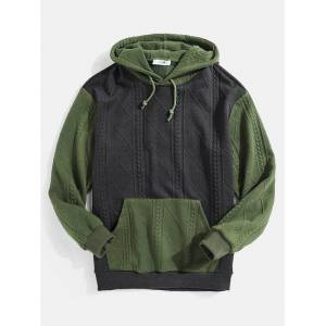 Newchic Mens Knitting Texture Color Bolck Stitching Patchwork Drawstring Hoodies