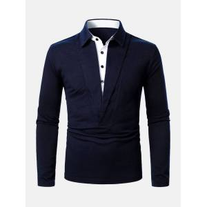 Newchic Mens Patchwork V-Shaped Button Lapel Long Sleeve Golf Shirts