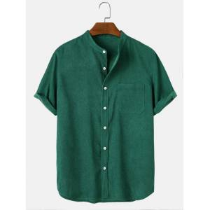 Newchic Mens Corduroy Stand Collar Solid Button Up Short Sleeve Shirts With Pocket