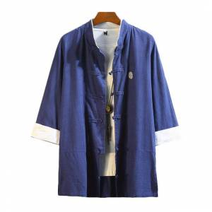 Newchic Loose Kimono Retro Cotton And Linen Seven-point Sleeves Shirt Jacket