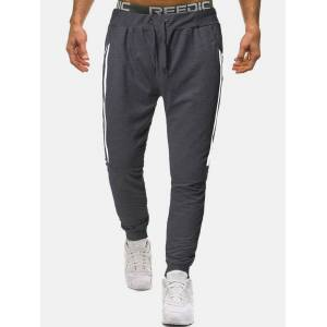 Newchic Mens Cotton Side Double Pockets Casual Sport Fit Drawstring Waist Jogger Pants