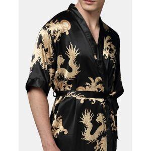Newchic Mens Plus Size Retro Luxury Stain Japanese Kimono Chinese Dragon Ice Silk Sexy Sleep Robes