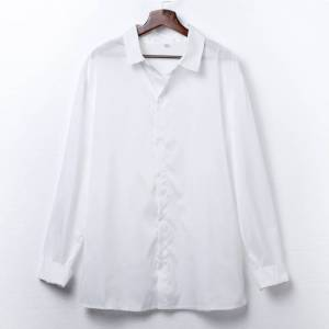 Newchic Stand Collar Stylish White Thin Breathable Long Sleeve Shirts For Men