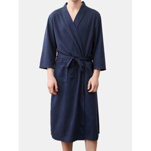 Newchic Men Plain Waffle Robe Thin Breathable Spa Bathrobe Home Loungewear With Pockets