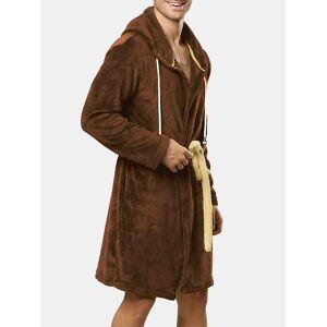 Newchic Men Flannel Pajamas Robe Thick Thermal Drawstring Hooded Plain Loungewear Bathrobe