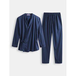 Newchic Men Polka Dot Kimono Robe Set Thin Loose Breathable Home Casual Loungewear