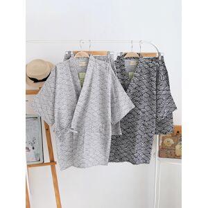 Newchic Mens Japanese Kimono Stylish Wave Printing Cotton Breathable Comfy Pajamas Gifts Sets
