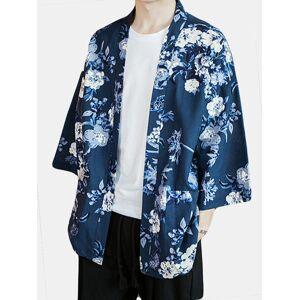 Newchic Mens Floral Cotton Linen Kimono Cardigan Japanese Open Front Coat Jacket Top