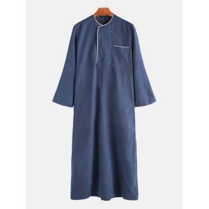 Newchic Mens Mid-Long Loose Fit Mid-East Indian Muslim Dress Robe