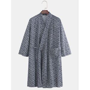 Newchic Men Japanese Kimono Robe Bathrobe Water Pattern Print Thin Lounge Pajamas Yukata With Pocket