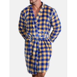 Newchic Men Plaid Flannel Fleece Bathrobe Loose Pajama Sleepwear Robe