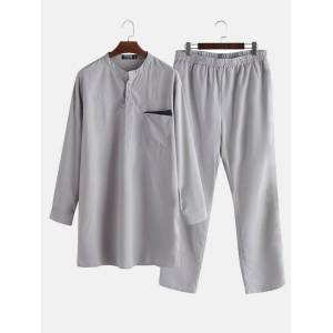 Newchic Mens Plain Solid Color Ethnic Robe Set