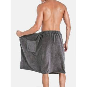 Newchic Mens Bathrobe Beach Towels Magic Button Quick Dry Shorts Skirts Homewear With Pocket