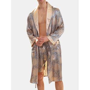 Newchic Men Geometric Faux Silk Pajamas Robe Soft Classical Drawstring Loungewear Bathing Suits
