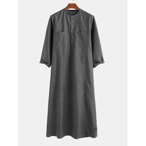 Newchic Mens Long Sleeve Robe Formal Dress Long Henley Shirts
