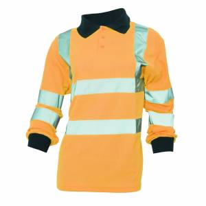 Yoko damer/kvinners Hi-Vis lang ermet Polo skjorte Hei Vis oransje 4XL