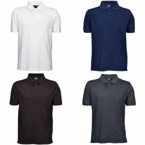 Tee Jays Mens Heavy Pique kort ermet Polo skjorte Svart 5XL