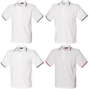 Henbury Mens 65/35 tippet Polo skjorte Hvit/flaske grønt XS