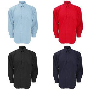 Kustom Kit Kustom orientert Kit Mens Workwear Oxford langermet skjorte Svart 14.5inch