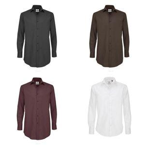 B&C B & C Mens svart slips langermet formelle arbeid skjorte XL