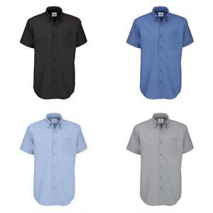 B&C B & C menns Oxford kort ermet skjorte / menns skjorter Blue Chip 5XL