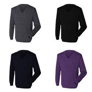 Henbury Mens 12 Gauge Fine strikk hals genser / Sweatshirt Svart XS